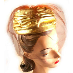 Vintage Gold Metallic Cocktail Hat Don Anderson 1950S - The Best Vintage Clothing  - 4