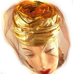 Vintage Gold Metallic Cocktail Hat Don Anderson 1950S - The Best Vintage Clothing  - 3