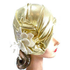 Vintage Gold Metallic Cloche Hat 1980S Pearls Large 1920s Look - The Best Vintage Clothing  - 2