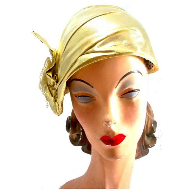 Vintage Gold Metallic Cloche Hat 1980S Pearls Large 1920s Look - The Best Vintage Clothing  - 1