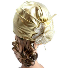 Vintage Gold Metallic Cloche Hat 1980S Pearls Large 1920s Look - The Best Vintage Clothing  - 3