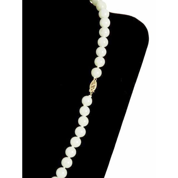 "Vintage Pale Green Quartz Bead Necklace 14K Clasp 20"" - The Best Vintage Clothing  - 4"