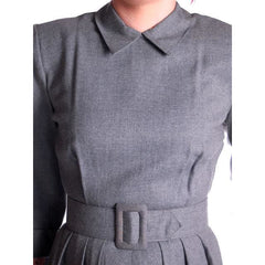 Vintage Heather Gray Wool Gabardine Day Dress 1950's Lenbarry 38-26-44 - The Best Vintage Clothing  - 4