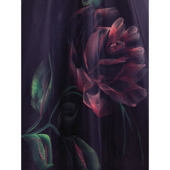 "Vintage Circle Skirt Hand Painted Rose On Black  1950S 30"" Waist - The Best Vintage Clothing  - 4"