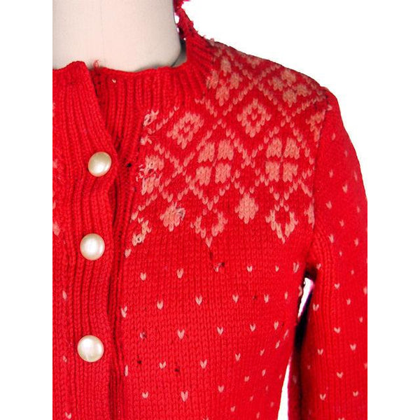 Vintage Cardigan Sweater Hand Knit Red Patterned Wool  1940s Distressed S-M - The Best Vintage Clothing  - 4