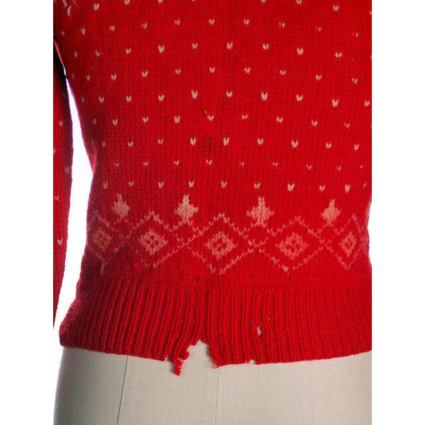 Vintage Cardigan Sweater Hand Knit Red Patterned Wool  1940s Distressed S-M - The Best Vintage Clothing  - 8