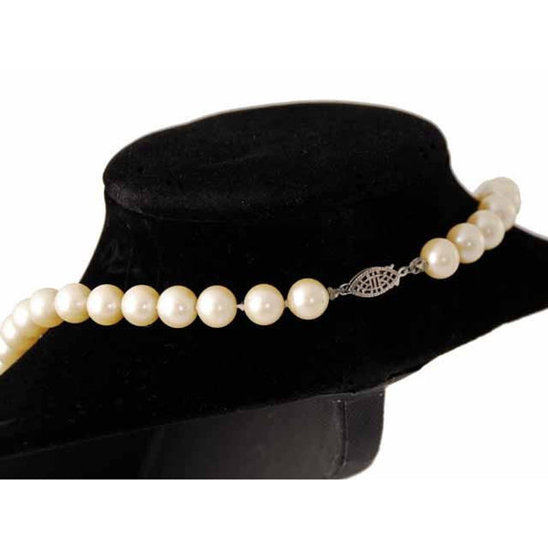 "Vintage Imitation Pearls 8-9 MM Single Strand 24"" 1940S Candlelight - The Best Vintage Clothing  - 3"