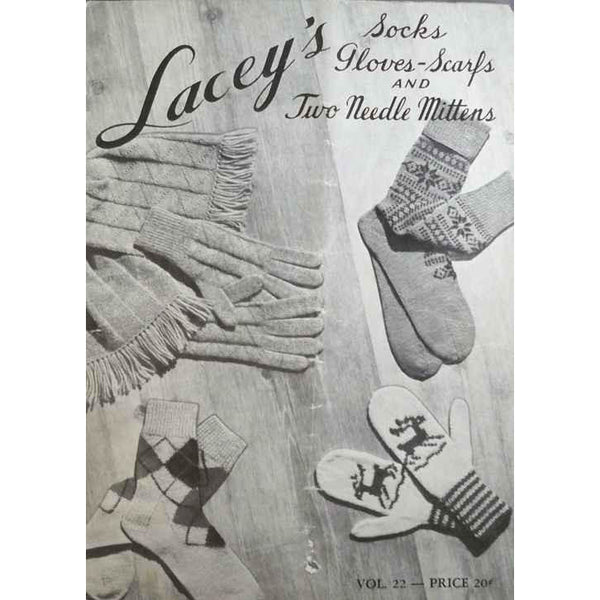 Vintage Knitting Pattern Book Laceys Socks/Mittens 1949 Reindeer Snowflakes - The Best Vintage Clothing  - 1