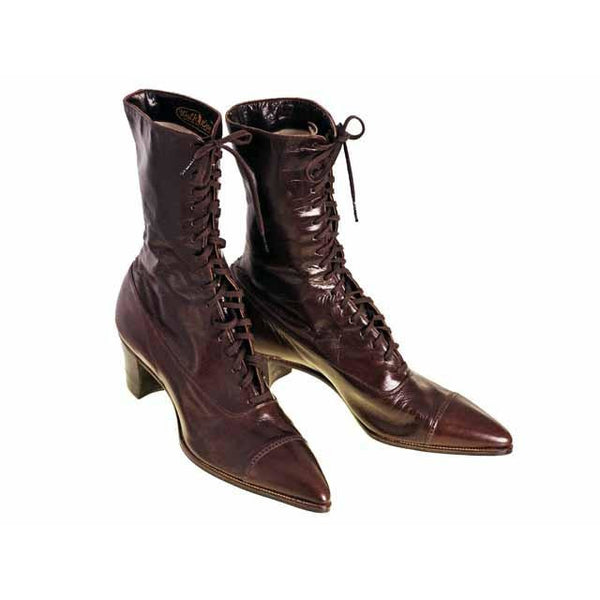 Vintage Ladies Victorian High Top Lace Up Boots Cherry Brown 1919 Size 4 - The Best Vintage Clothing  - 9