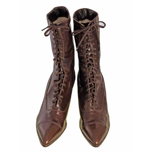 Vintage Ladies Victorian High Top Lace Up Boots Cherry Brown 1919 Size 4 - The Best Vintage Clothing  - 10