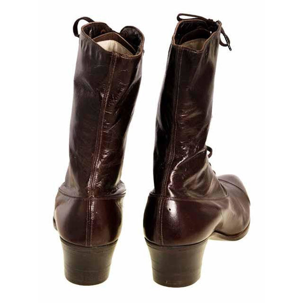 Vintage Ladies Victorian High Top Lace Up Boots Cherry Brown 1919 Size 4 - The Best Vintage Clothing  - 4
