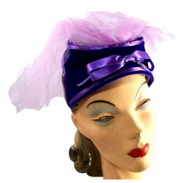 Vintage Hat Lavender Netting Purple Velvet 1950s - The Best Vintage Clothing  - 1