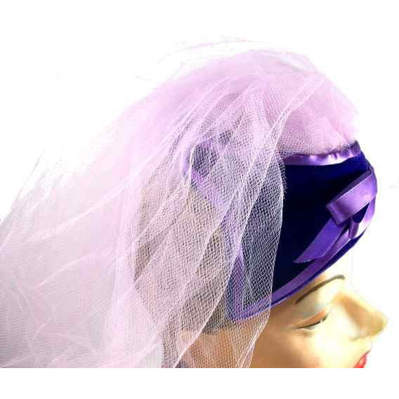 Vintage Hat Lavender Netting Purple Velvet 1950s - The Best Vintage Clothing  - 2