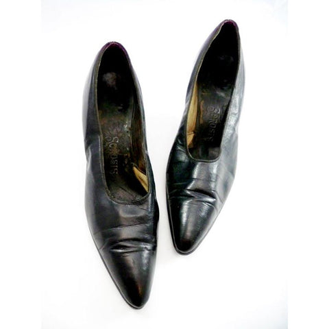 Vintage Ladies Black Leather Pumps w/Louis Heel 1920s Size 7.5N  Sorosis