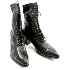 Antique High Top Lace Black Leather Boots Womens Titanic Era Well Made Modern Size 6.5 - The Best Vintage Clothing  - 1