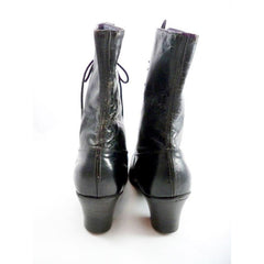 Antique High Top Lace Black Leather Boots Womens Titanic Era Well Made Modern Size 6.5 - The Best Vintage Clothing  - 3