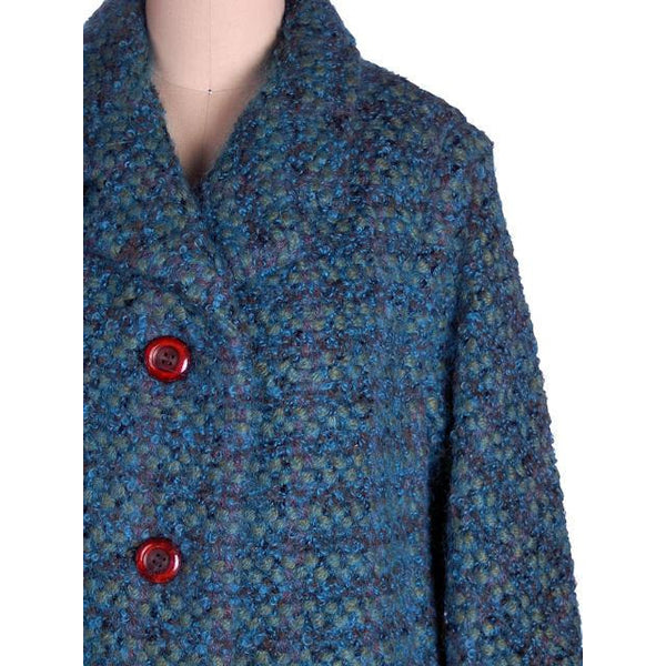 Vintage Ladies Suit Turquoise Mohair Tweed Mollie Abrahamson 1950s 43-26-36 - The Best Vintage Clothing  - 4