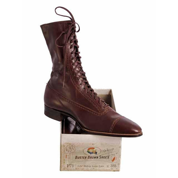 Vintage  Mahogany Leather High Lace Boots 1910 Sz 7N New In BOX Buster Brown - The Best Vintage Clothing  - 3