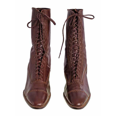 Vintage Womens Mahogany Leather High Top  Lace Boots 1910 Sz 5-6