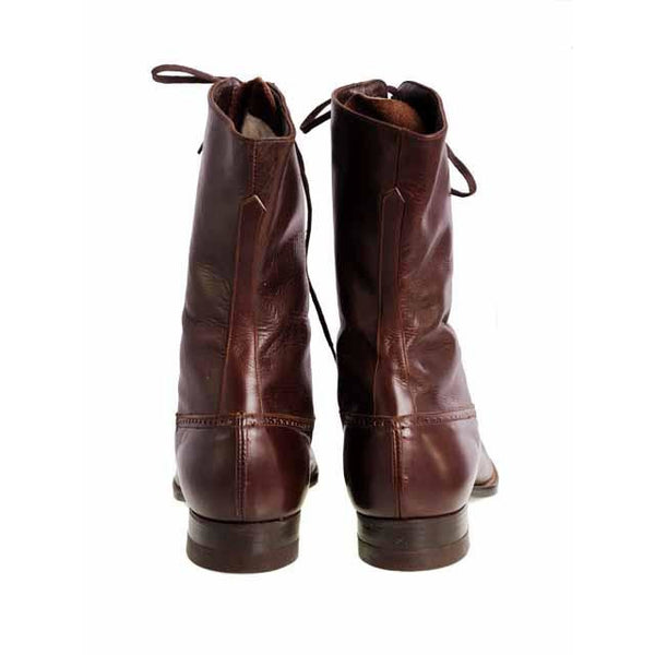 Vintage Womens Mahogany Leather High Top  Lace Boots 1910 Sz 5-6 - The Best Vintage Clothing  - 5