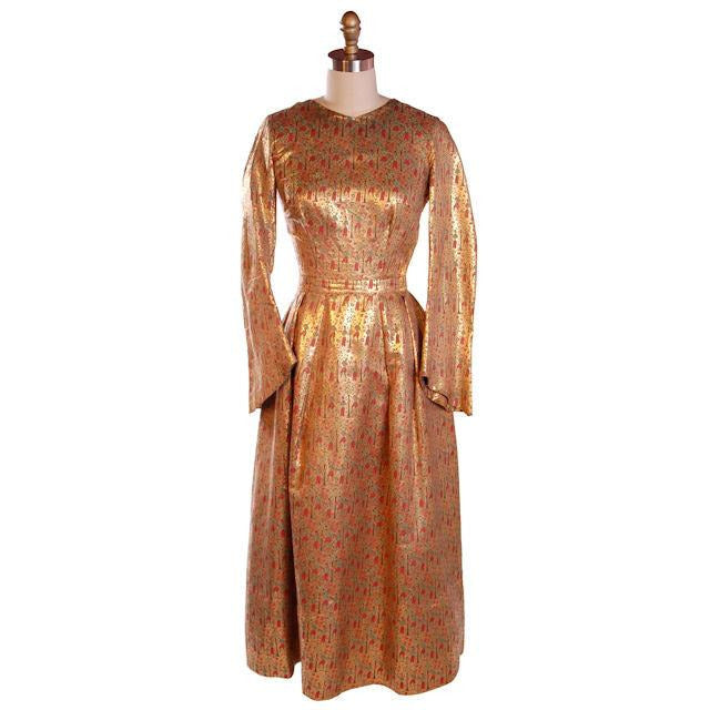Vintage Liquid Gold Metallic Damask Evening Gown Custom 1940S 36-28-Free - The Best Vintage Clothing  - 1
