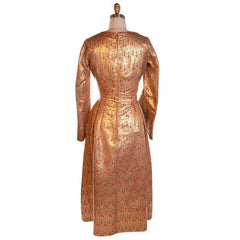 Vintage Liquid Gold Metallic Damask Evening Gown Custom 1940S 36-28-Free - The Best Vintage Clothing  - 4