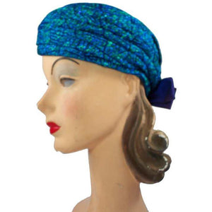 Vintage Metallic Turquoise Damask Sparkly  Ladies Hat 1950S - The Best Vintage Clothing  - 1