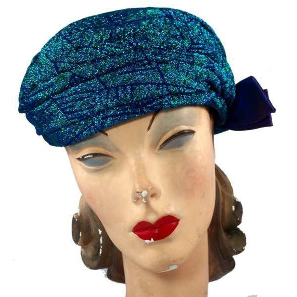 Vintage Metallic Turquoise Damask Sparkly  Ladies Hat 1950S - The Best Vintage Clothing  - 5