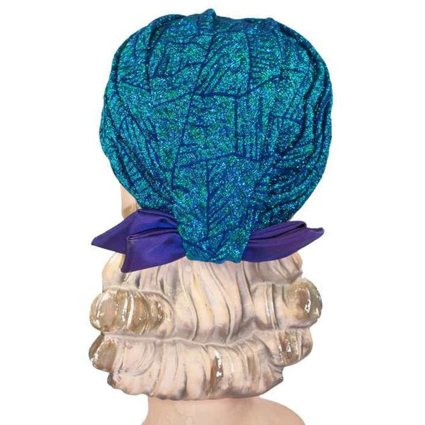 Vintage Metallic Turquoise Damask Sparkly  Ladies Hat 1950S - The Best Vintage Clothing  - 2
