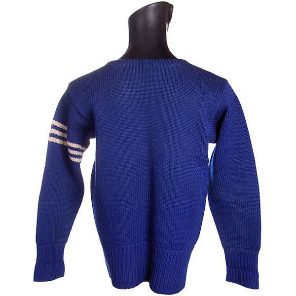 "Vintage Mens Knit Sweater Royal Blue Wool 1930s 44"" Chest White Sleeve Stripes - The Best Vintage Clothing  - 3"