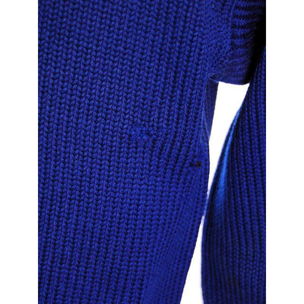 "Vintage Mens Knit Sweater Royal Blue Wool 1930s 44"" Chest White Sleeve Stripes - The Best Vintage Clothing  - 4"