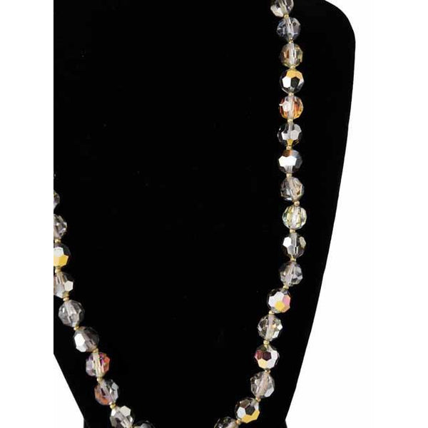 Vintage Estate Jewelry Beads Mirror Aurora Crystal Necklace 10Kt Clasp - The Best Vintage Clothing  - 2