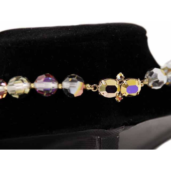 Vintage Estate Jewelry Beads Mirror Aurora Crystal Necklace 10Kt Clasp - The Best Vintage Clothing  - 3