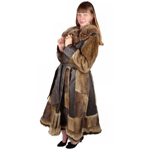 Vintage Muskrat Fur & Leather Belted Trench Coat 1970S Size 10-12 - The Best Vintage Clothing  - 1
