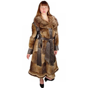 Vintage Muskrat Fur & Leather Belted Trench Coat 1970S Size 10-12 - The Best Vintage Clothing  - 3