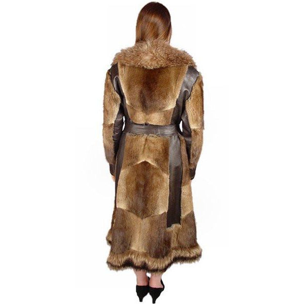 Vintage Muskrat Fur & Leather Belted Trench Coat 1970S Size 10-12 - The Best Vintage Clothing  - 4