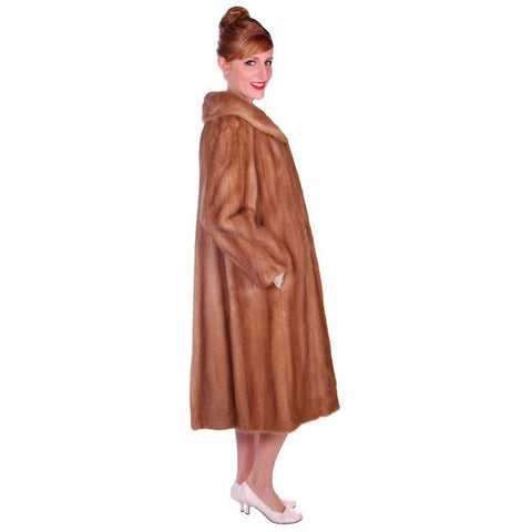 Vintage Mink Coat Autumn Haze Fantastic Buttons 1950s Small - The Best Vintage Clothing  - 1