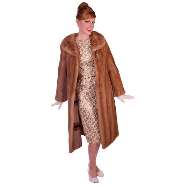 Vintage Mink Coat Autumn Haze Fantastic Buttons 1950s Small - The Best Vintage Clothing  - 3