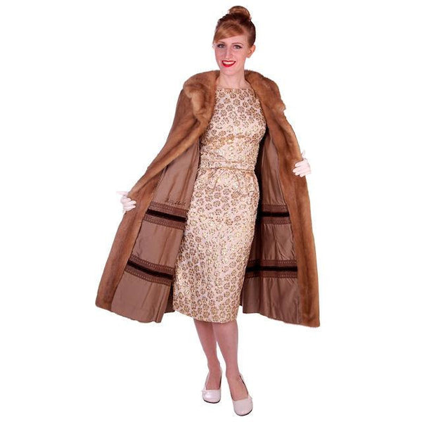 Vintage Mink Coat Autumn Haze Fantastic Buttons 1950s Small - The Best Vintage Clothing  - 4