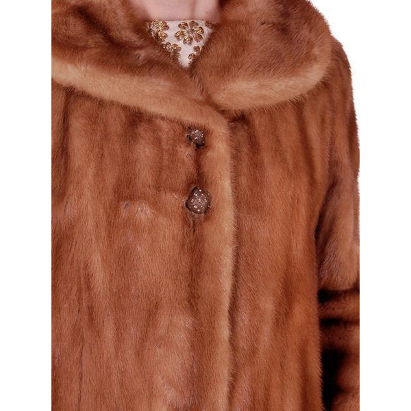 Vintage Mink Coat Autumn Haze Fantastic Buttons 1950s Small - The Best Vintage Clothing  - 5