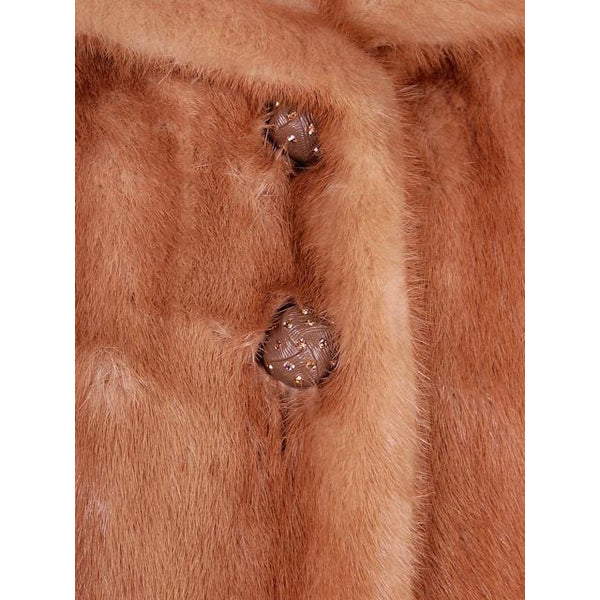 Vintage Mink Coat Autumn Haze Fantastic Buttons 1950s Small - The Best Vintage Clothing  - 6
