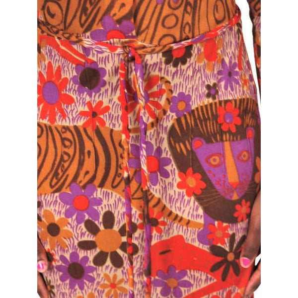 "Vintage Dress Form Fitting Mod Silk ""Lions"" Print  1970'S Size S-M - The Best Vintage Clothing  - 2"