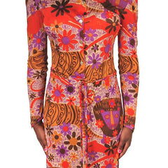 "Vintage Dress Form Fitting Mod Silk ""Lions"" Print  1970'S Size S-M - The Best Vintage Clothing  - 3"