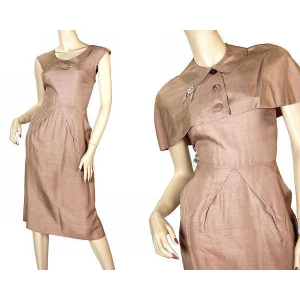 Vintage Mocha Silk Cocktail Dress W/ Cape Bolero 1950S Small 33-25-40 - The Best Vintage Clothing  - 6