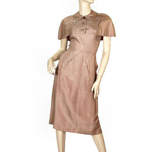 Vintage Mocha Silk Cocktail Dress W/ Cape Bolero 1950S Small 33-25-40 - The Best Vintage Clothing  - 1