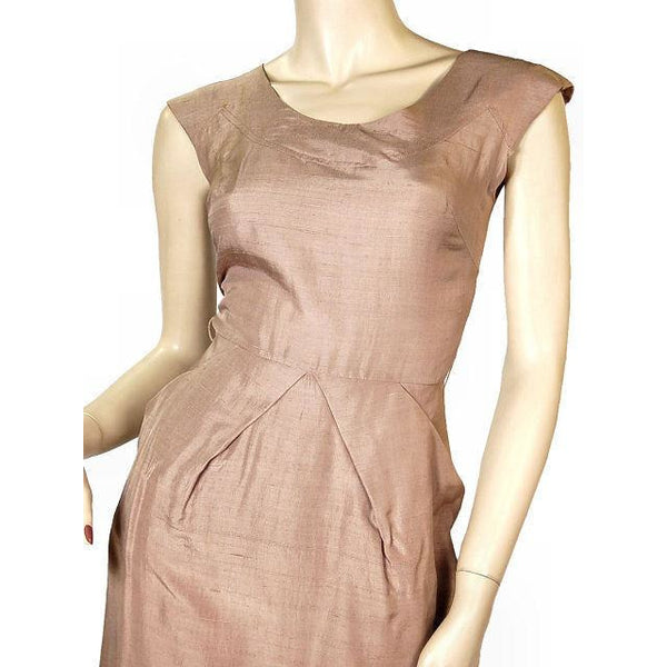 Vintage Mocha Silk Cocktail Dress W/ Cape Bolero 1950S Small 33-25-40 - The Best Vintage Clothing  - 4