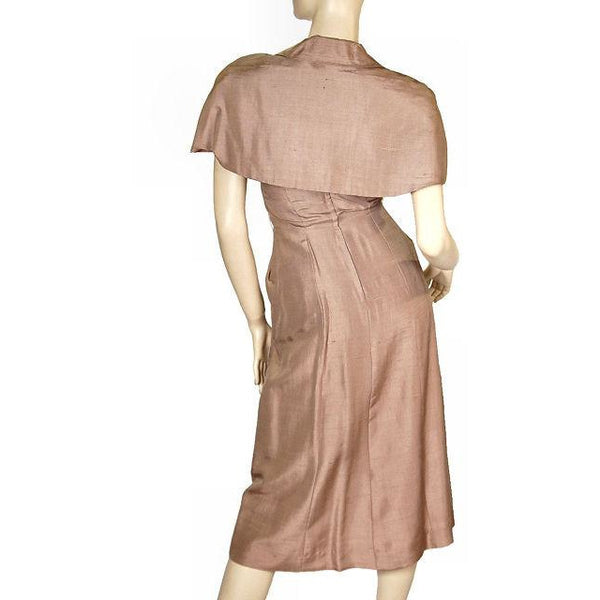 Vintage Mocha Silk Cocktail Dress W/ Cape Bolero 1950S Small 33-25-40 - The Best Vintage Clothing  - 2