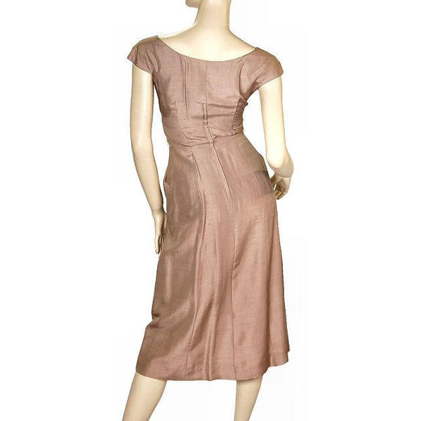 Vintage Mocha Silk Cocktail Dress W/ Cape Bolero 1950S Small 33-25-40 - The Best Vintage Clothing  - 5
