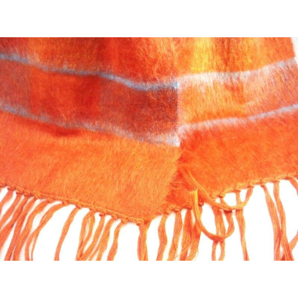 Vintage Mohair Scarf Bright Burnt Orange/Cornflower Blue 1970s - The Best Vintage Clothing  - 2