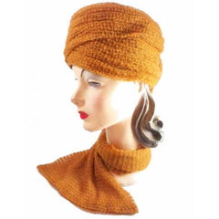 Vintage Mr. John Butternut Knit Hat w/ Attached Scarf 1950s - The Best Vintage Clothing  - 4